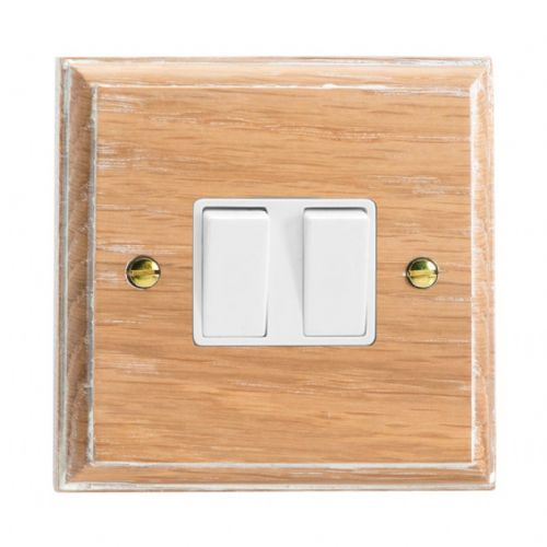 Varilight XK2LOW Kilnwood Limed Oak 2 Gang 10A 1 or 2 Way Rocker Light Switch